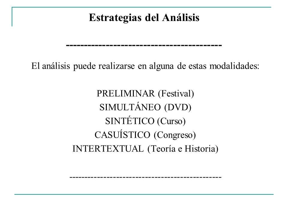 Estrategias del Análisis ------------------------------------------ El análisis puede realizarse en alguna de estas modalidades: PRELIMINAR (Festival)