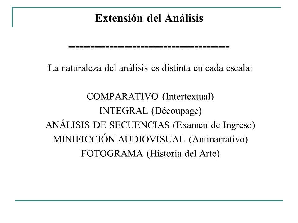 Extensión del Análisis ------------------------------------------ La naturaleza del análisis es distinta en cada escala: COMPARATIVO (Intertextual) IN