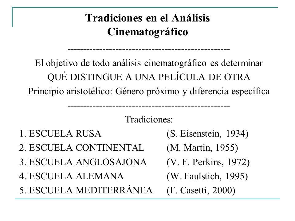 Tradiciones en el Análisis Cinematográfico -------------------------------------------------- El objetivo de todo análisis cinematográfico es determin