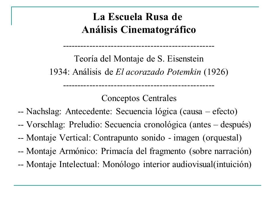 La Escuela Rusa de Análisis Cinematográfico -------------------------------------------------- Teoría del Montaje de S. Eisenstein 1934: Análisis de E