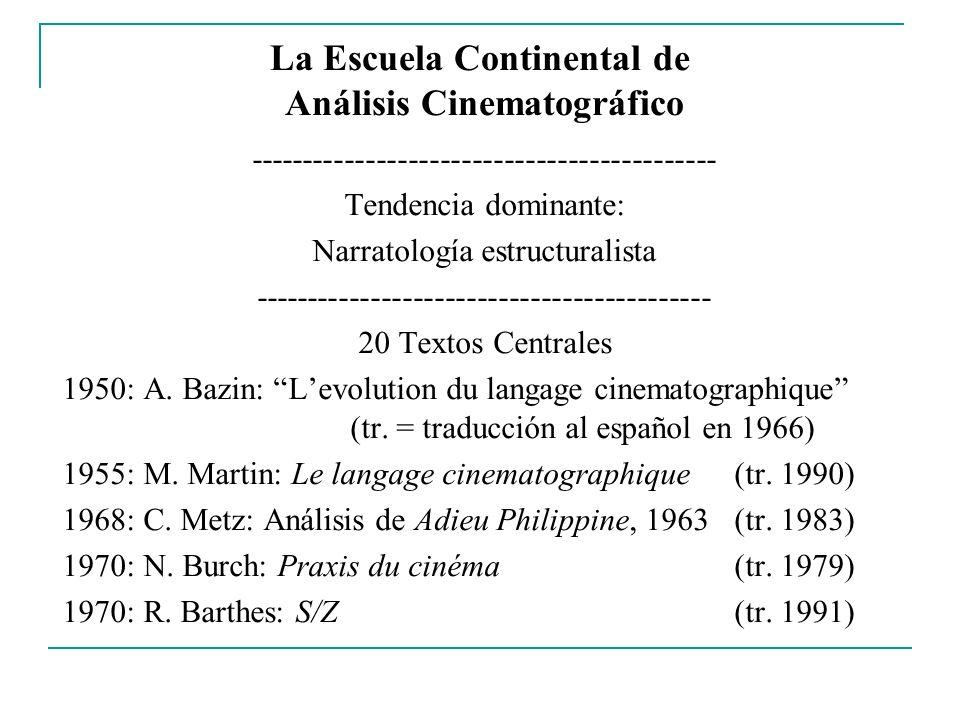 La Escuela Continental de Análisis Cinematográfico -------------------------------------------- Tendencia dominante: Narratología estructuralista ----