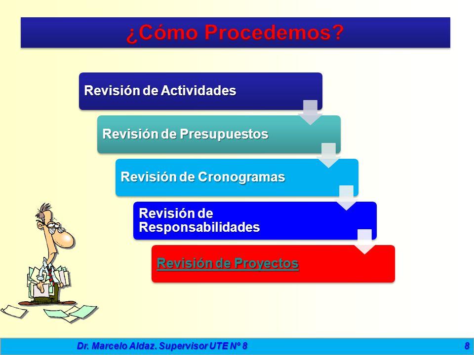 8 Revisión de Actividades Revisión de Presupuestos Revisión de Cronogramas Revisión de Responsabilidades Revisión de Proyectos Revisión de Proyectos