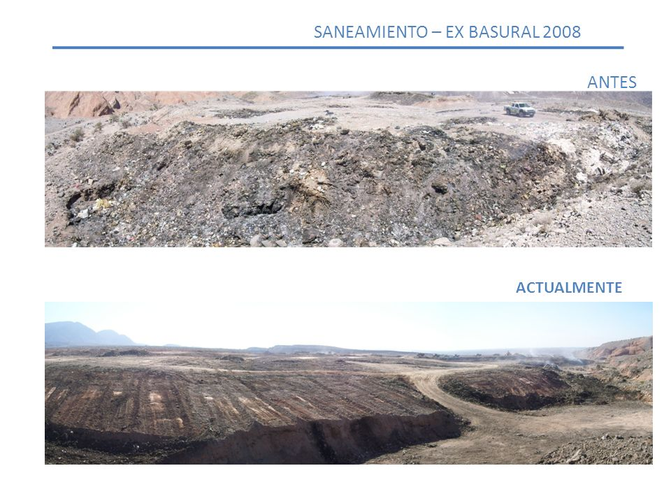 ANTES ACTUALMENTE SANEAMIENTO – EX BASURAL 2008