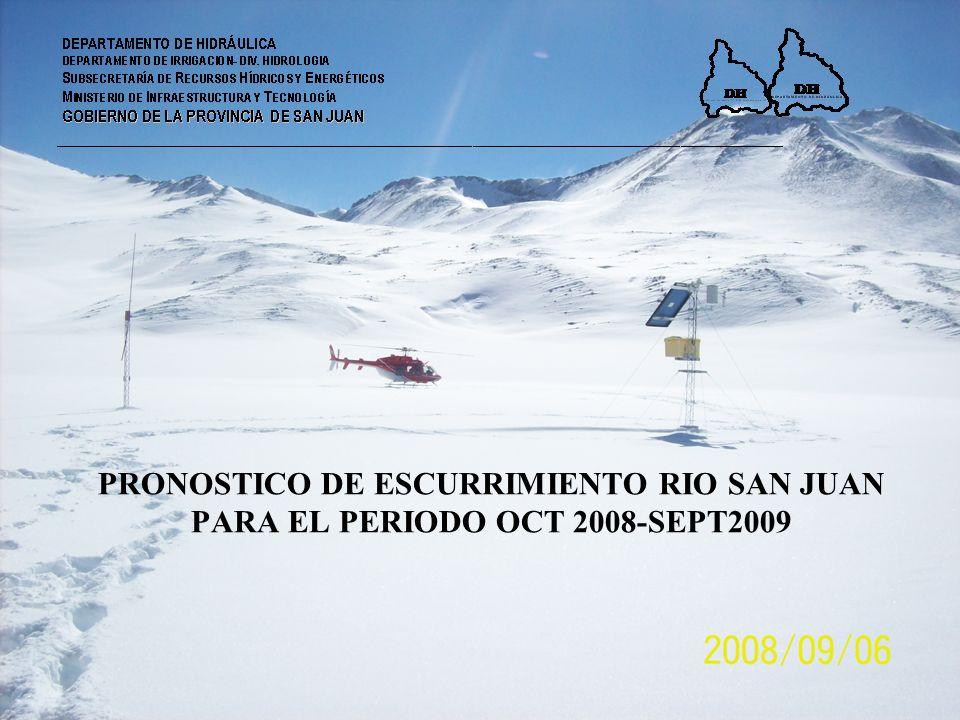 PRONOSTICO DE ESCURRIMIENTO RIO SAN JUAN PARA EL PERIODO OCT 2008-SEPT2009