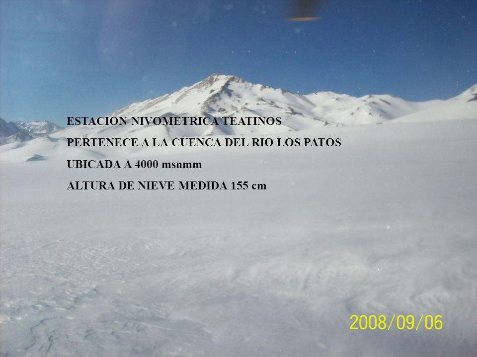 PERTENECE A LA CUENCA DEL RIO LOS PATOS UBICADA A 4000 msnmm ALTURA DE NIEVE MEDIDA 155 cm