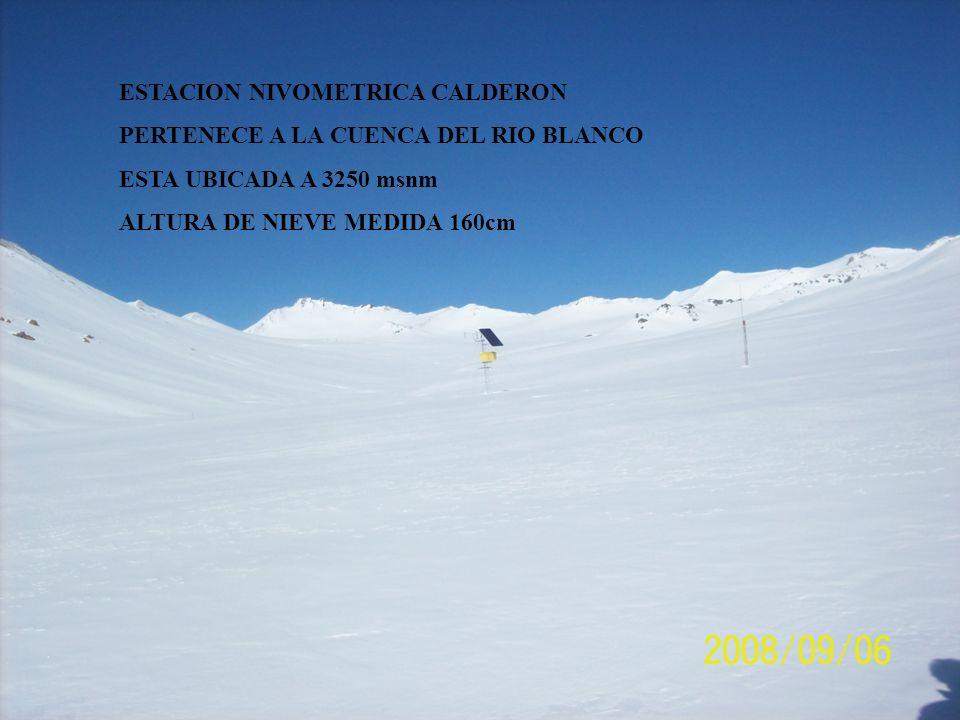 ESTACION NIVOMETRICA CALDERON PERTENECE A LA CUENCA DEL RIO BLANCO ESTA UBICADA A 3250 msnm ALTURA DE NIEVE MEDIDA 160cm