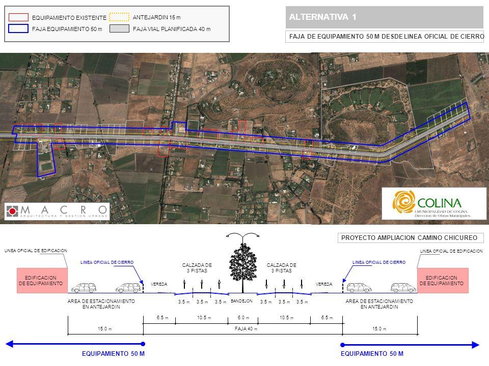 ALTERNATIVA 2 FAJA DE EQUIPAMIENTO 50 M DESDE LINEA OFICIAL DE EDIFICACION EQUIPAMIENTO EXISTENTE FAJA EQUIPAMIENTO 50 m ANTEJARDIN 15 m FAJA VIAL PLANIFICADA 40 m EQUIPAMIENTO 50 M