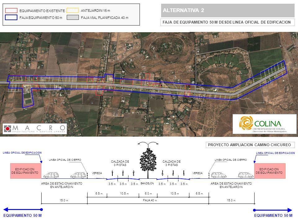 ALTERNATIVA 2 FAJA DE EQUIPAMIENTO 50 M DESDE LINEA OFICIAL DE EDIFICACION EQUIPAMIENTO EXISTENTE FAJA EQUIPAMIENTO 50 m ANTEJARDIN 15 m FAJA VIAL PLA
