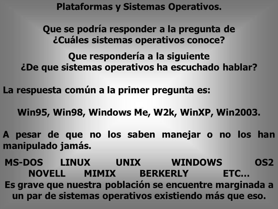 MS-DOSLINUXUNIXWINDOWS OS2 NOVELLMIMIX BERKERLYETC… Es grave que nuestra población se encuentre marginada a un par de sistemas operativos existiendo más que eso.