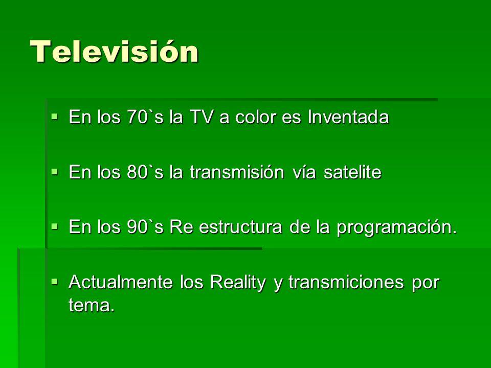 Televisión En los 70`s la TV a color es Inventada En los 70`s la TV a color es Inventada En los 80`s la transmisión vía satelite En los 80`s la transm