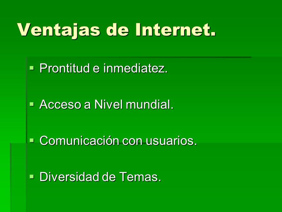Ventajas de Internet. Prontitud e inmediatez. Prontitud e inmediatez. Acceso a Nivel mundial. Acceso a Nivel mundial. Comunicación con usuarios. Comun