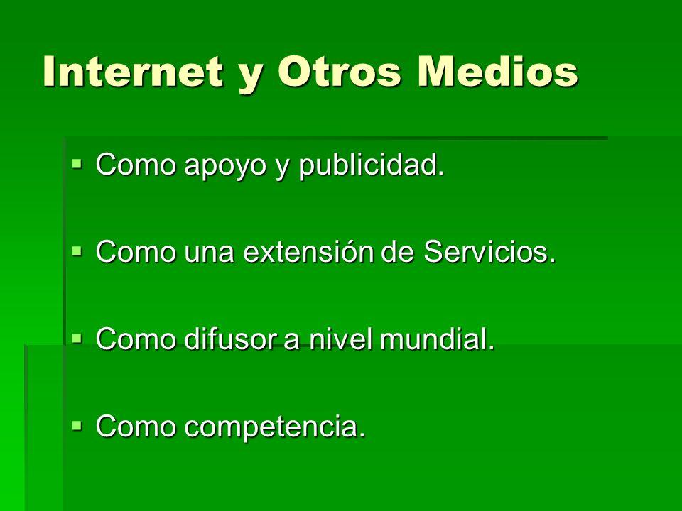Internet y Otros Medios Como apoyo y publicidad. Como apoyo y publicidad. Como una extensión de Servicios. Como una extensión de Servicios. Como difus