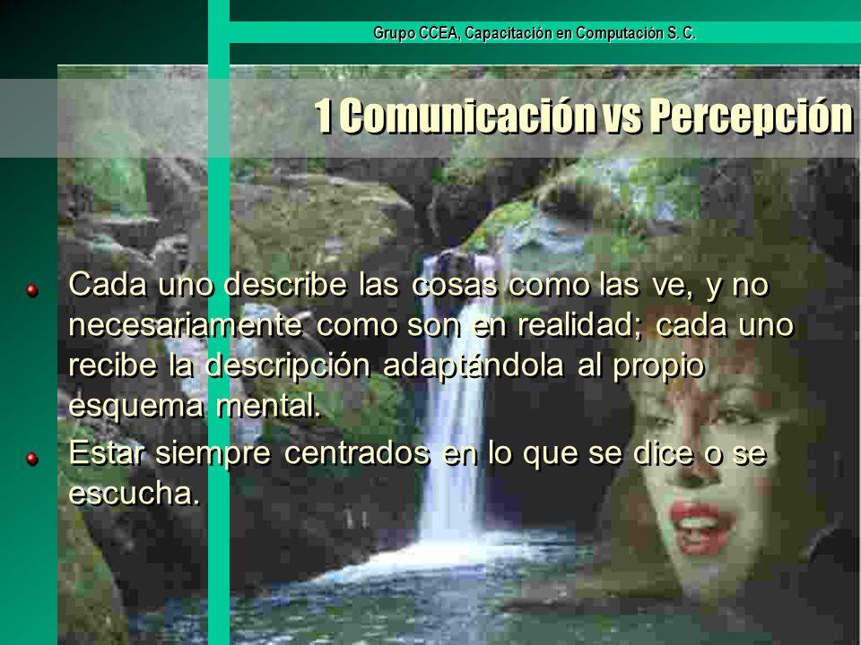 Grupo CCEA, Capacitación en Computación S. C. 1 Comunicación vs Percepción Cada uno describe las cosas como las ve, y no necesariamente como son en re
