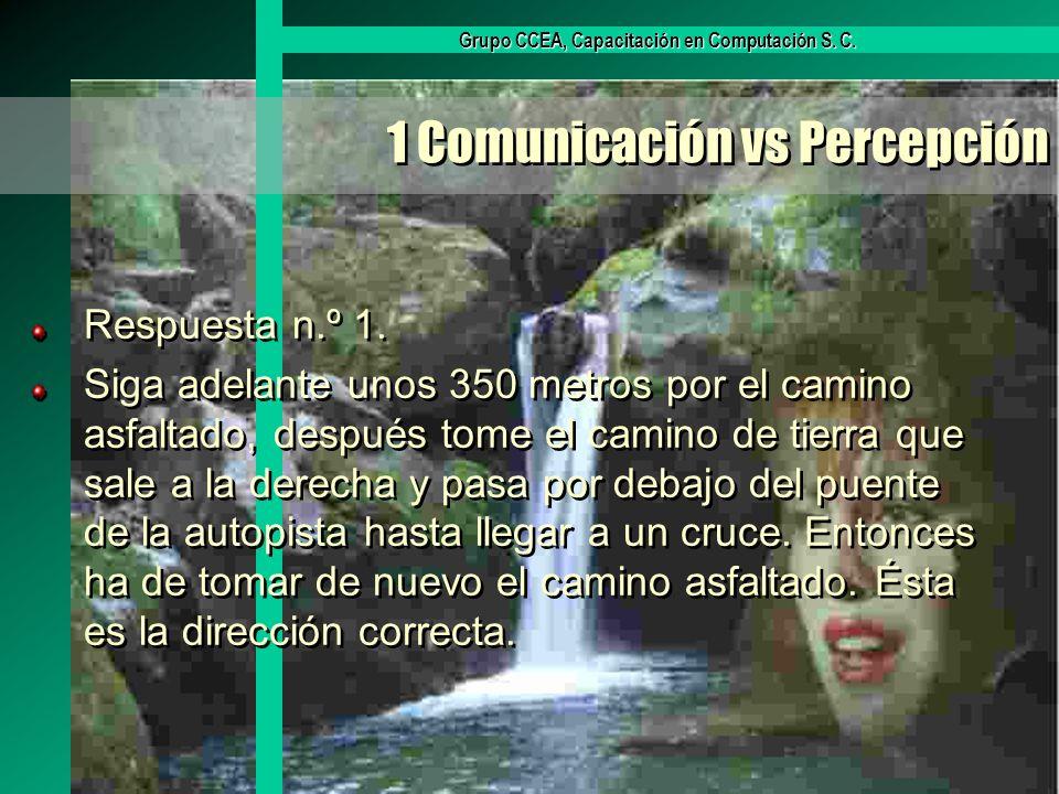 Grupo CCEA, Capacitación en Computación S. C. 1 Comunicación vs Percepción Respuesta n.º 1. Siga adelante unos 350 metros por el camino asfaltado, des