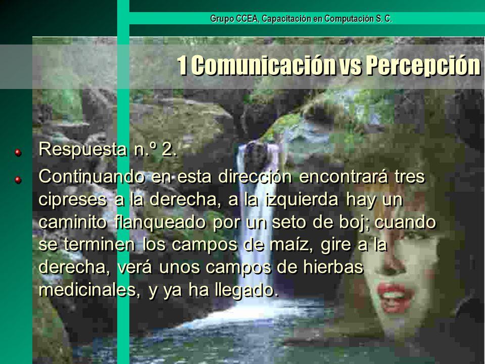 Grupo CCEA, Capacitación en Computación S. C. 1 Comunicación vs Percepción Respuesta n.º 2. Continuando en esta dirección encontrará tres cipreses a l