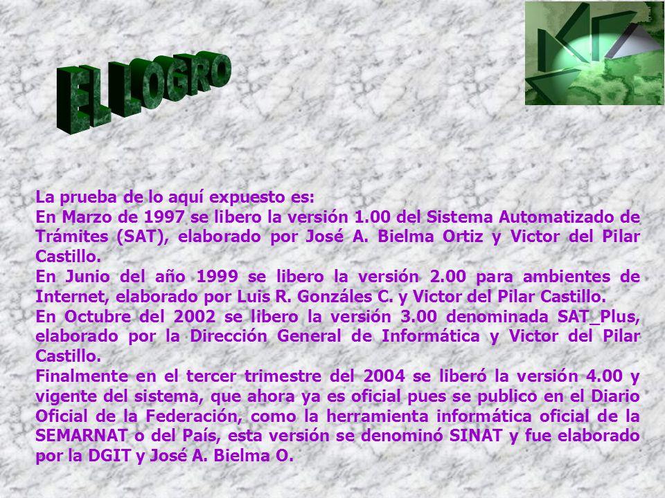 La prueba de lo aquí expuesto es: En Marzo de 1997 se libero la versión 1.00 del Sistema Automatizado de Trámites (SAT), elaborado por José A. Bielma