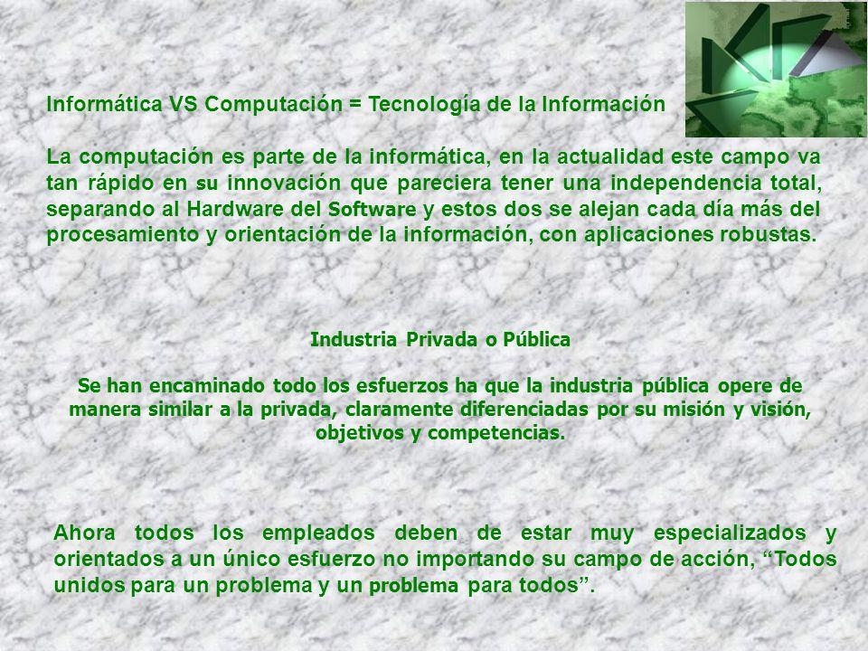 Informática VS Computación = Tecnología de la Información La computación es parte de la informática, en la actualidad este campo va tan rápido en su i