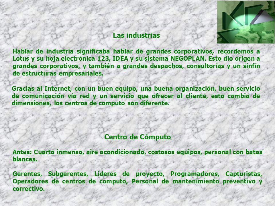 Las industrias Hablar de industria significaba hablar de grandes corporativos, recordemos a Lotus y su hoja electrónica 123, IDEA y su sistema NEGOPLA