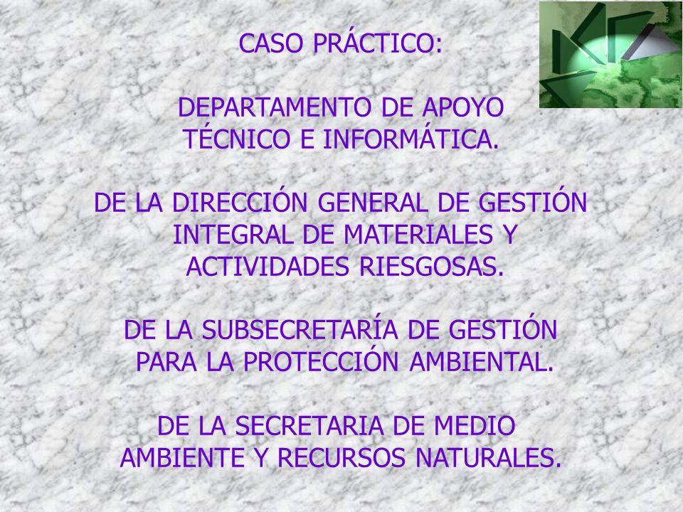 CASO PRÁCTICO: DEPARTAMENTO DE APOYO TÉCNICO E INFORMÁTICA. DE LA DIRECCIÓN GENERAL DE GESTIÓN INTEGRAL DE MATERIALES Y ACTIVIDADES RIESGOSAS. DE LA S