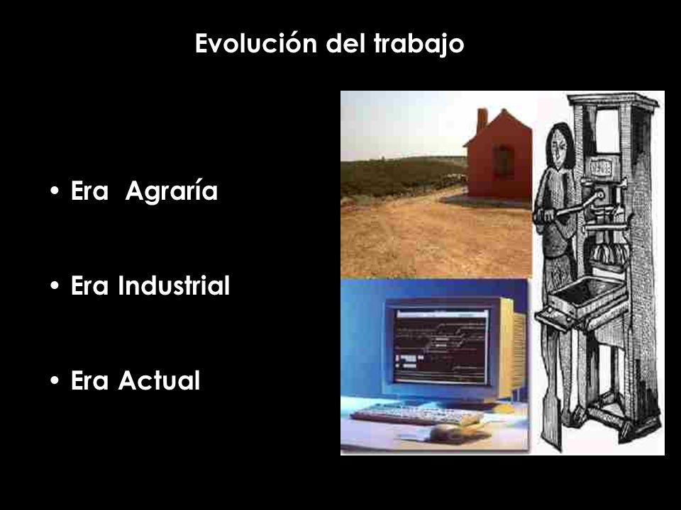 Evolución del trabajo Era Agraría Era Industrial Era Actual