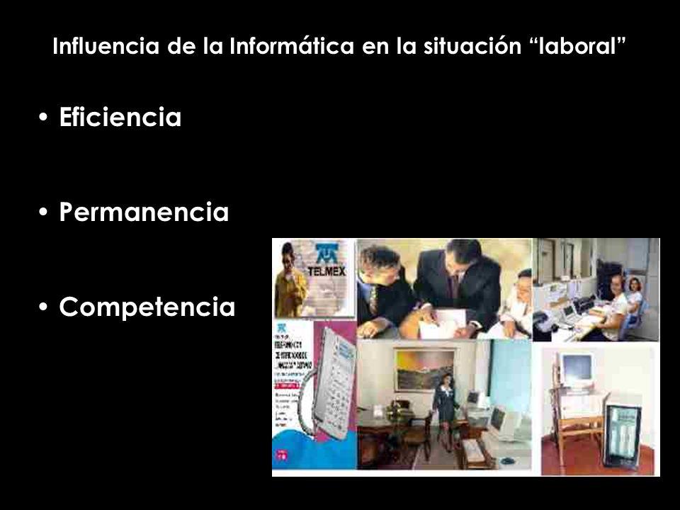 Influencia de la Informática en la situación laboral Eficiencia Permanencia Competencia