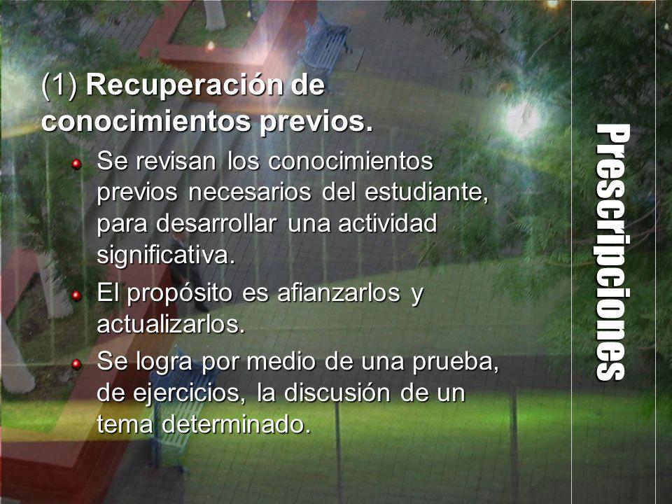Prescripciones (1) Recuperación de conocimientos previos. Se revisan los conocimientos previos necesarios del estudiante, para desarrollar una activid