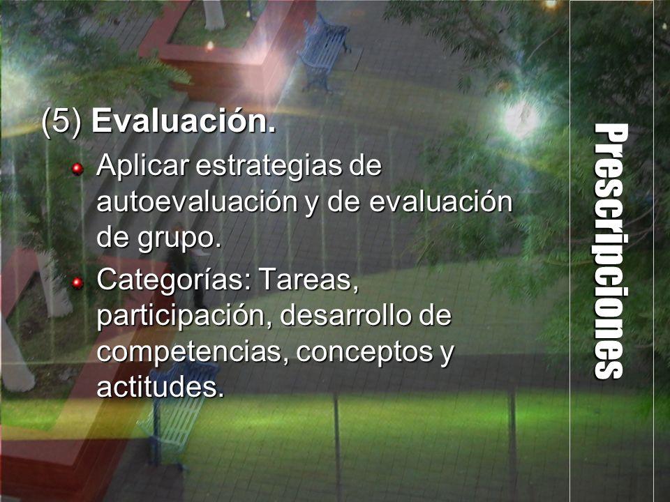 Prescripciones (5) Evaluación. Aplicar estrategias de autoevaluación y de evaluación de grupo. Categorías: Tareas, participación, desarrollo de compet