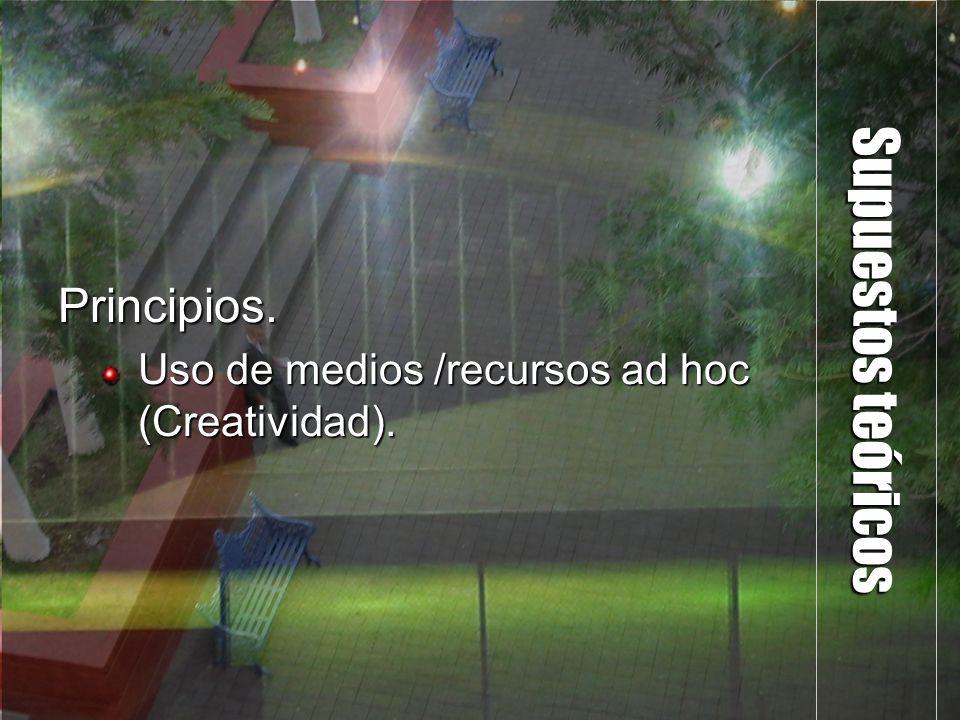 Supuestos teóricos Principios. Uso de medios /recursos ad hoc (Creatividad).