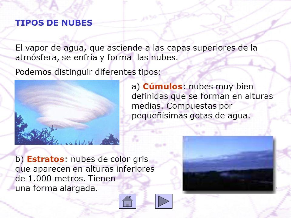 TIPOS DE NUBES El vapor de agua, que asciende a las capas superiores de la atmósfera, se enfría y forma las nubes. Podemos distinguir diferentes tipos