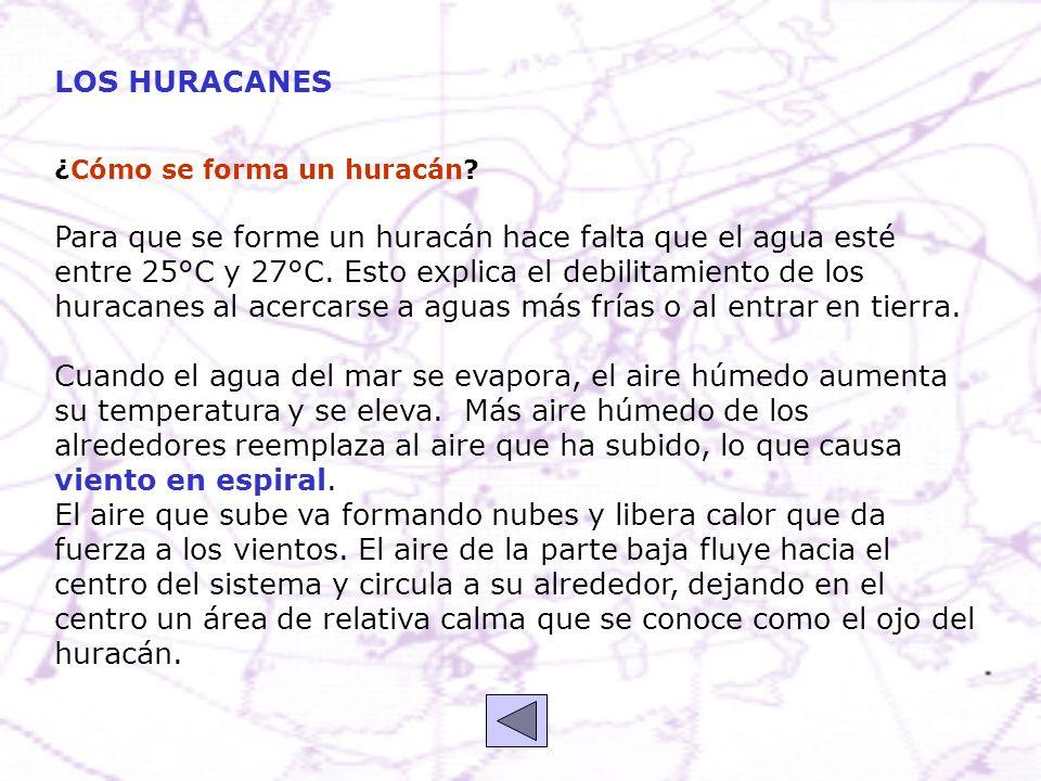 ¿Cómo se forma un huracán? Para que se forme un huracán hace falta que el agua esté entre 25°C y 27°C. Esto explica el debilitamiento de los huracanes