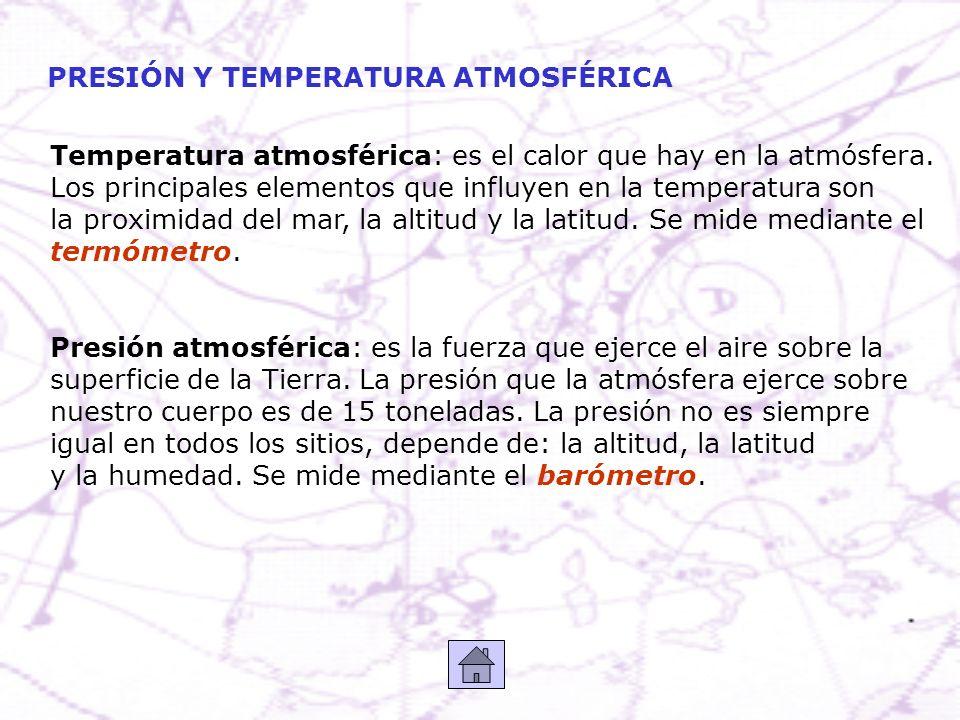 PRESIÓN Y TEMPERATURA ATMOSFÉRICA Temperatura atmosférica: es el calor que hay en la atmósfera. Los principales elementos que influyen en la temperatu