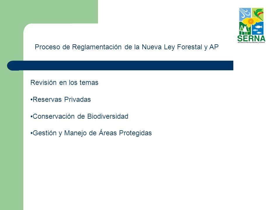 Proceso de Reglamentación de la Nueva Ley Forestal y AP Revisión en los temas Reservas Privadas Conservación de Biodiversidad Gestión y Manejo de Áreas Protegidas