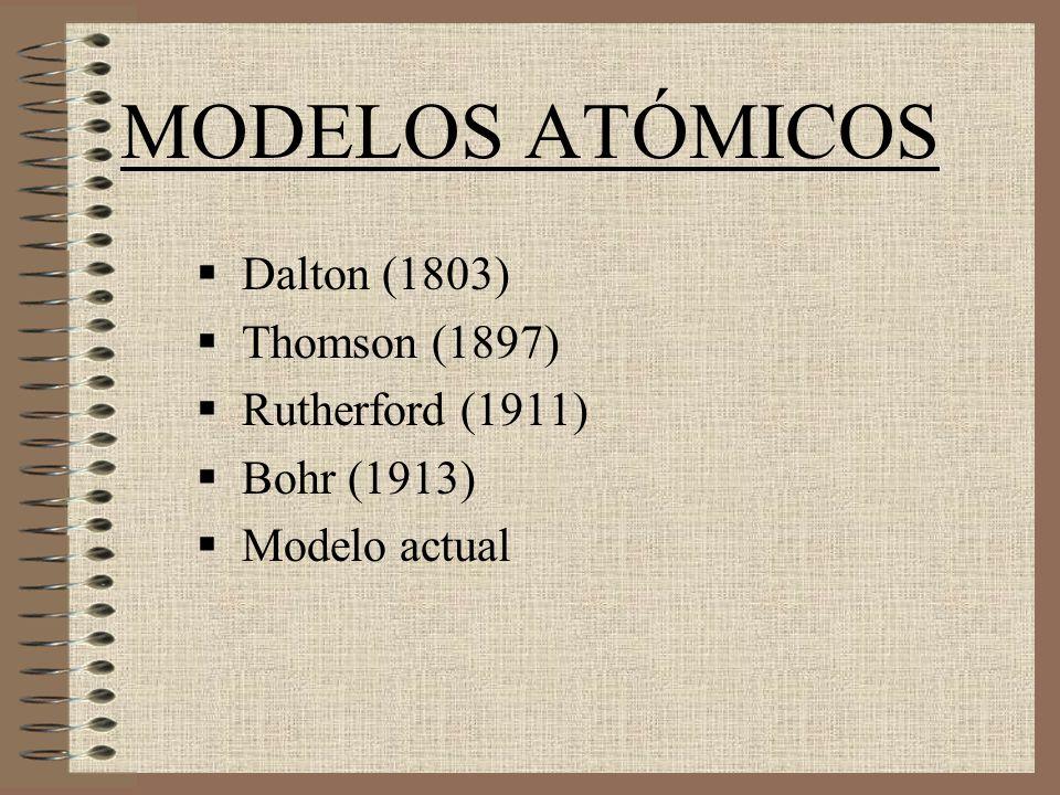 MODELOS ATÓMICOS Dalton (1803) Thomson (1897) Rutherford (1911) Bohr (1913) Modelo actual