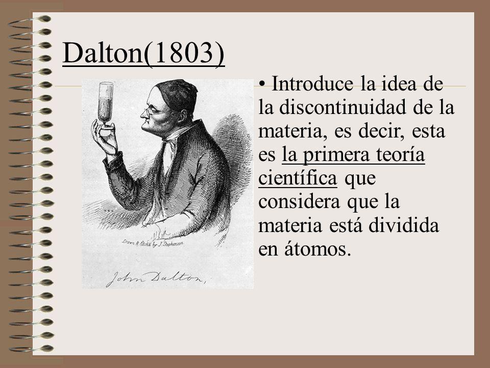 Dalton(1803) Introduce la idea de la discontinuidad de la materia, es decir, esta es la primera teoría científica que considera que la materia está dividida en átomos.