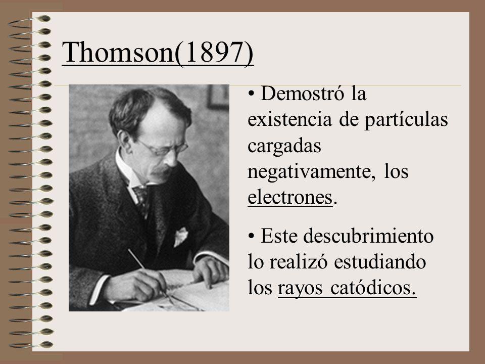 Thomson(1897) electrones Demostró la existencia de partículas cargadas negativamente, los electrones.