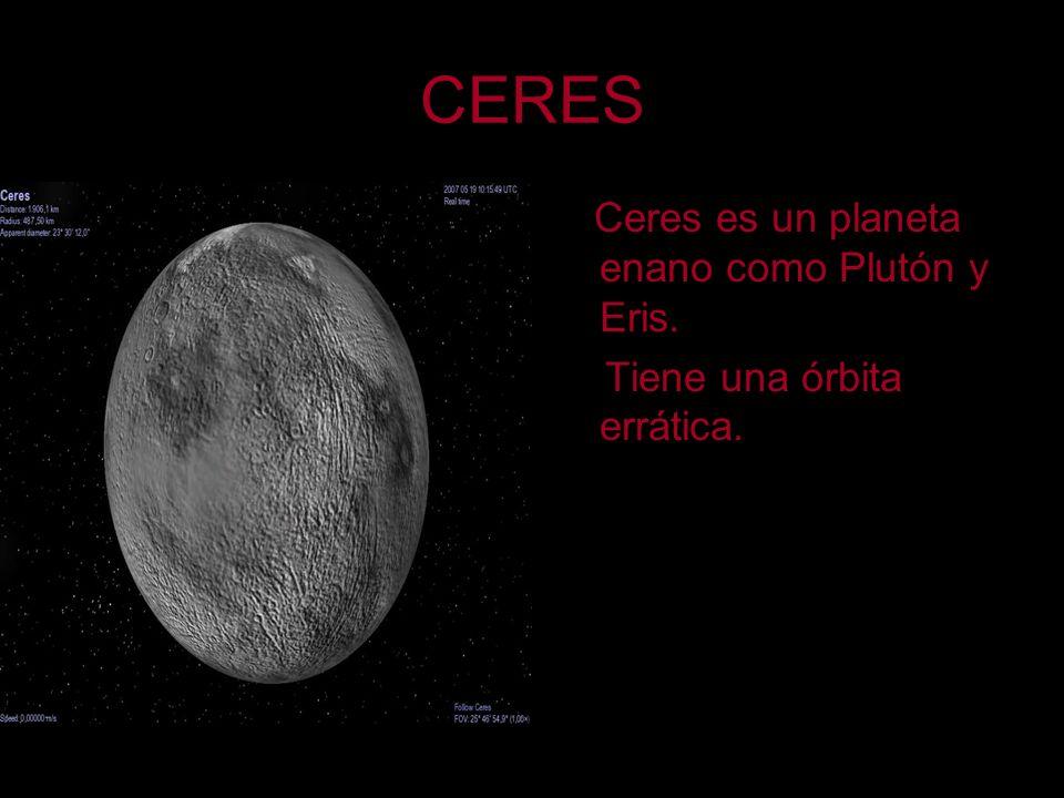 CERES Ceres es un planeta enano como Plutón y Eris. Tiene una órbita errática.