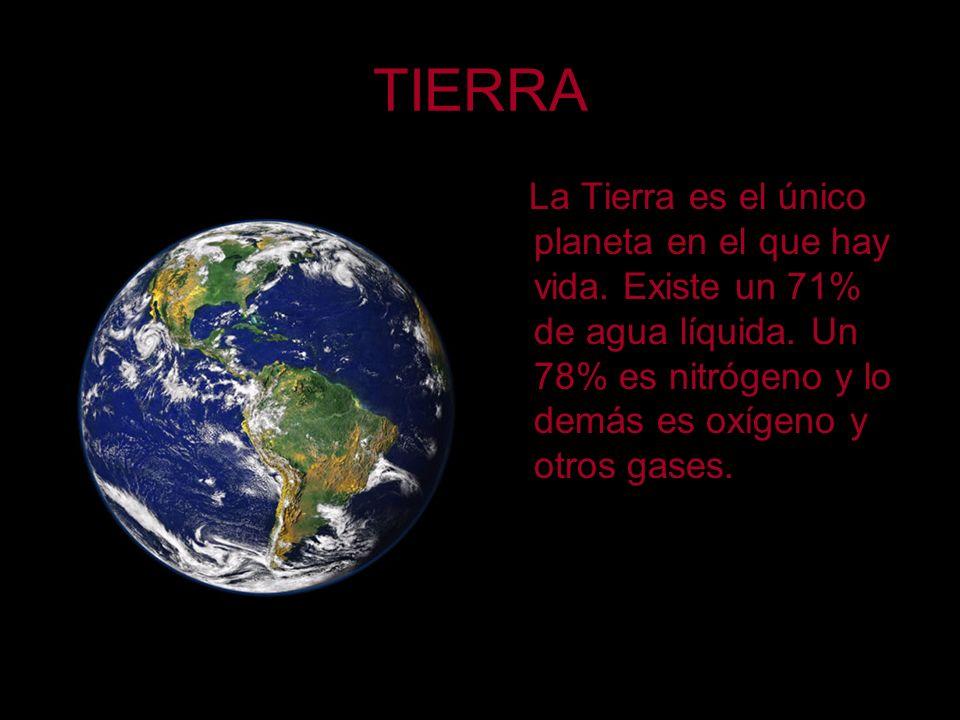 TIERRA La Tierra es el único planeta en el que hay vida. Existe un 71% de agua líquida. Un 78% es nitrógeno y lo demás es oxígeno y otros gases.