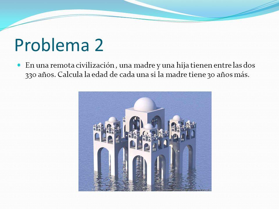 Problema 2 En una remota civilización, una madre y una hija tienen entre las dos 330 años. Calcula la edad de cada una si la madre tiene 30 años más.