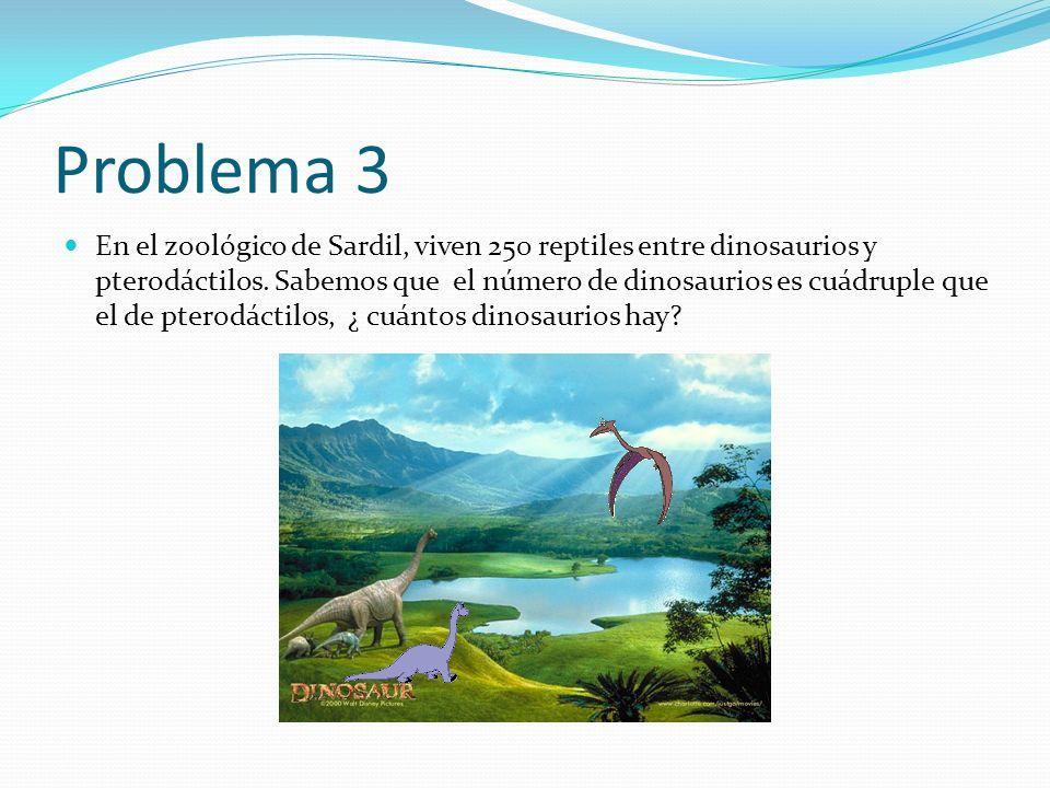 Problema 3 En el zoológico de Sardil, viven 250 reptiles entre dinosaurios y pterodáctilos. Sabemos que el número de dinosaurios es cuádruple que el d