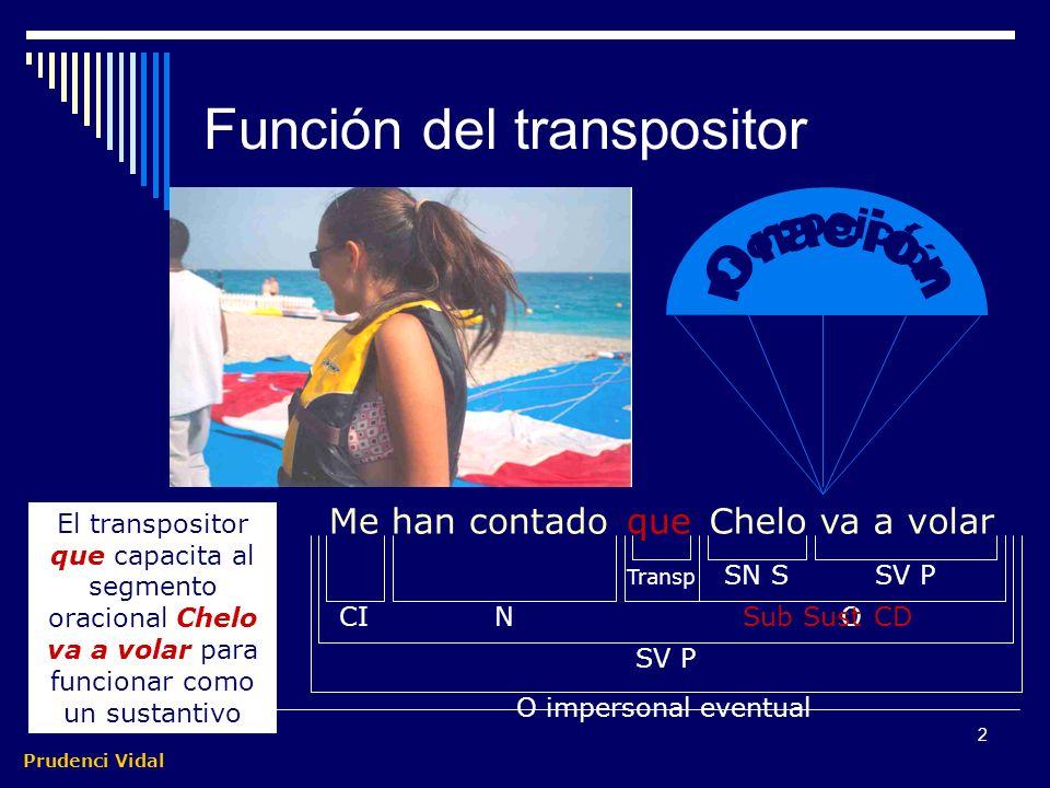 Prudenci Vidal 1 Subordinadas sustantivas Las subordinadas sustantivas son segmentos de carácter oracional que aparecen transpuestos o capacitados para desempeñar una función sustantiva por un transpositor, habitualmente: que