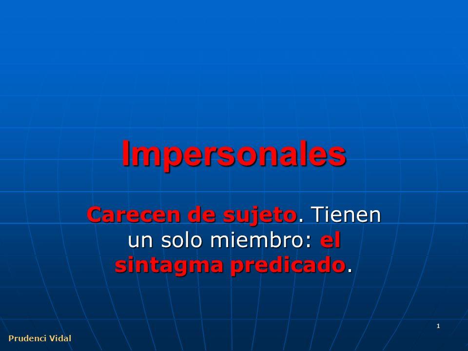 Prudenci Vidal 11 Confusión impersonal / pasiva Construcción intransitiva.