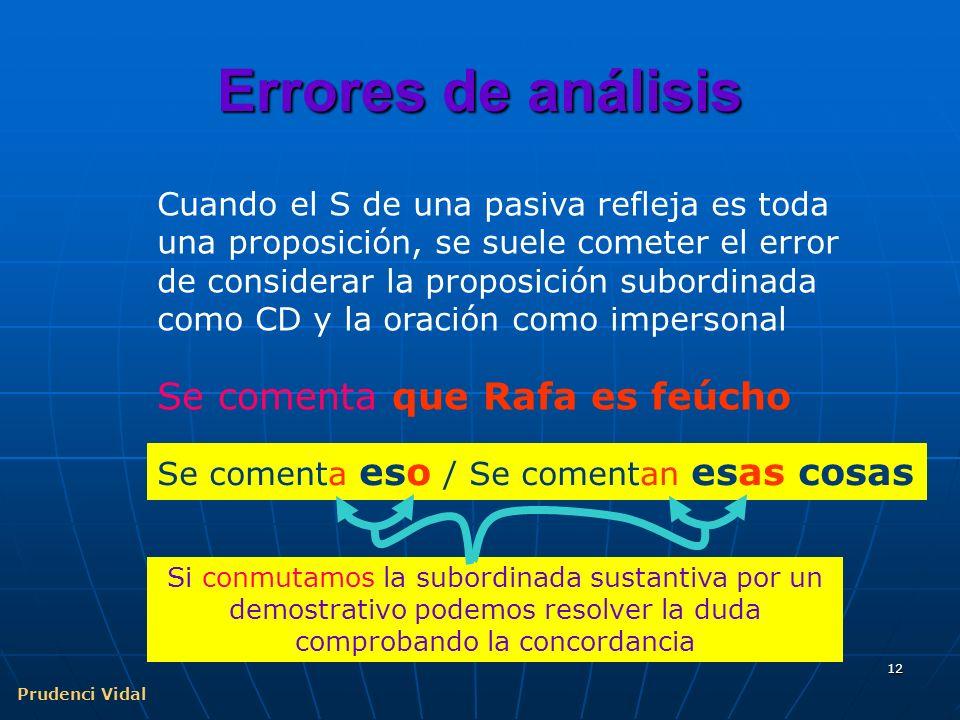 Prudenci Vidal 11 Confusión impersonal / pasiva Construcción intransitiva. CD precedido de a. No hay concordancia entre el elemento nominal y el verbo