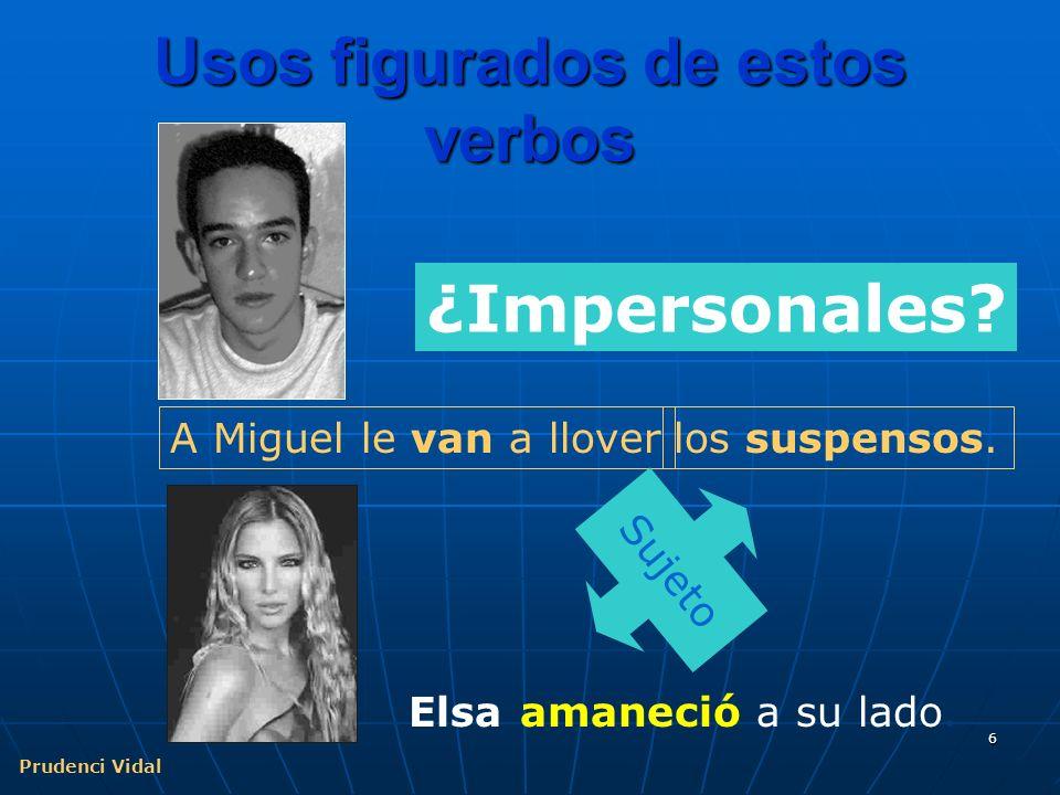 Prudenci Vidal 6 Usos figurados de estos verbos A Miguel le van a llover ¿Impersonales.