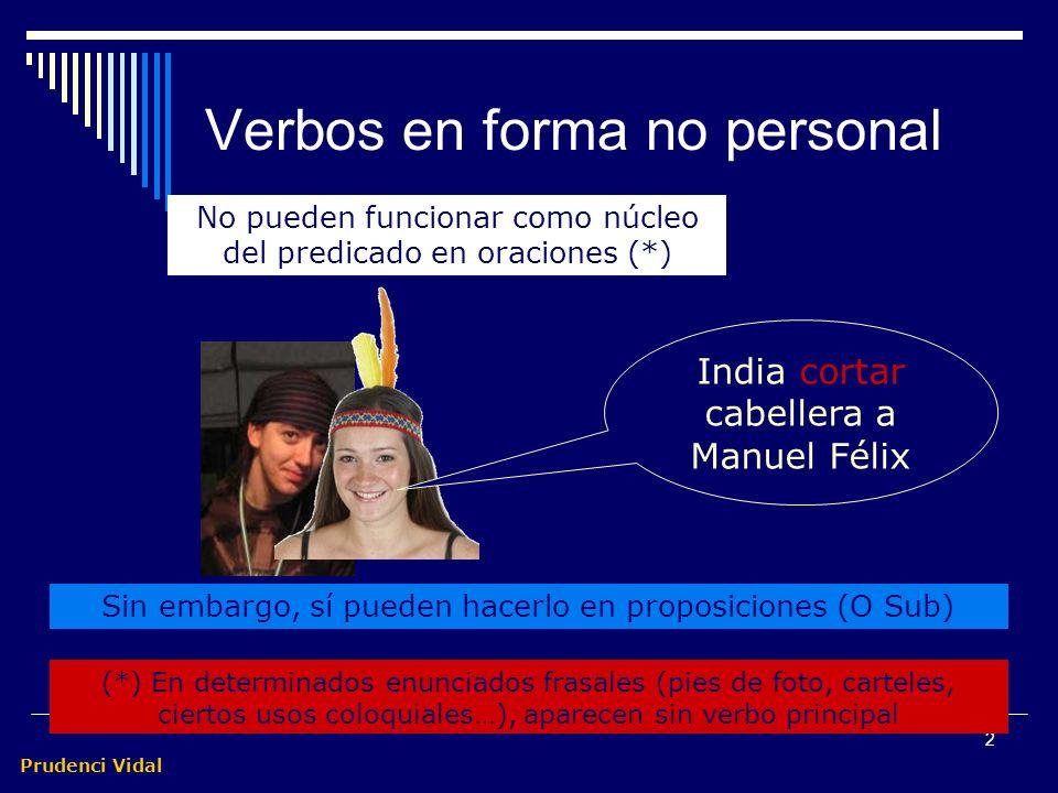 Prudenci Vidal 1 Subordinadas con verbos en forma no personal Son frecuentes las estructuras que tienen un infinitivo, un gerundio o un participio com