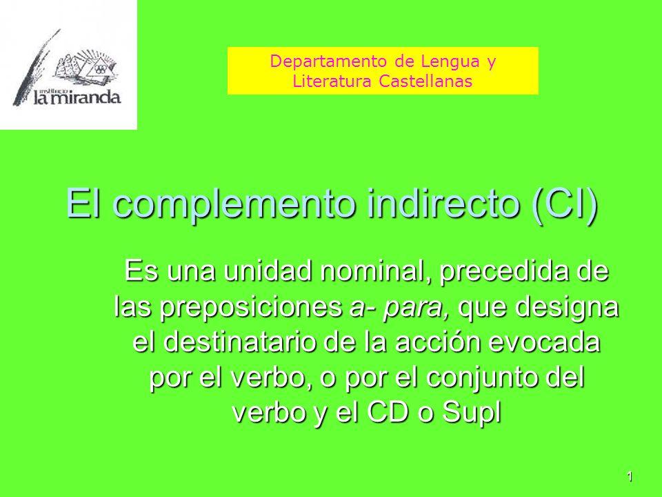 1 El complemento indirecto (CI) Es una unidad nominal, precedida de las preposiciones a- para, que designa el destinatario de la acción evocada por el
