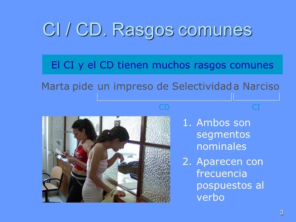 3 CI / CD. Rasgos comunes Martapideun impreso de Selectividada Narciso El CI y el CD tienen muchos rasgos comunes 1.Ambos son segmentos nominales 2.Ap