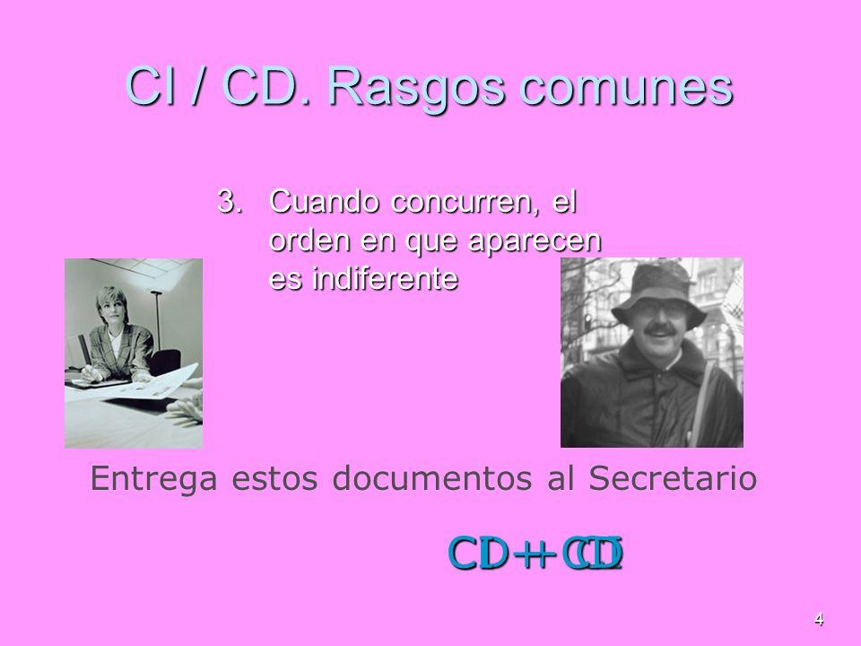4 CI / CD. Rasgos comunes 3.C uando concurren, el orden en que aparecen es indiferente Entregaestos documentosal Secretario CD + CI CI + CD