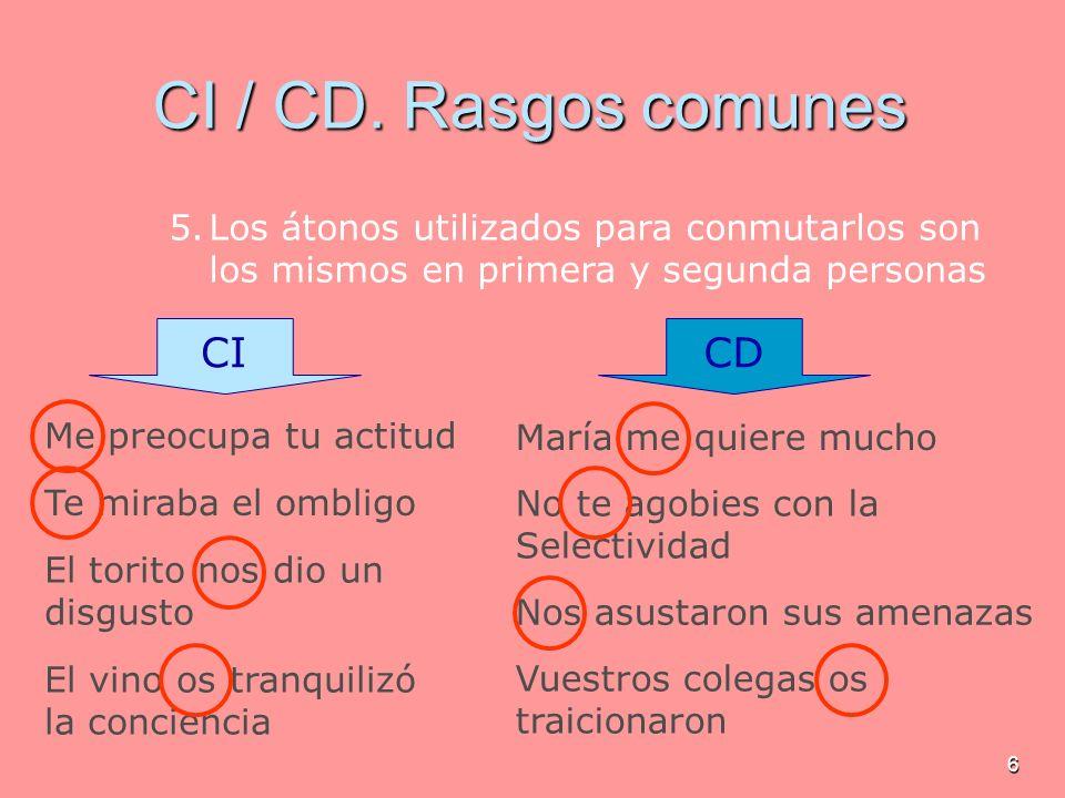 6 Me preocupa tu actitud CI / CD. Rasgos comunes 5.Los átonos utilizados para conmutarlos son los mismos en primera y segunda personas Te miraba el om