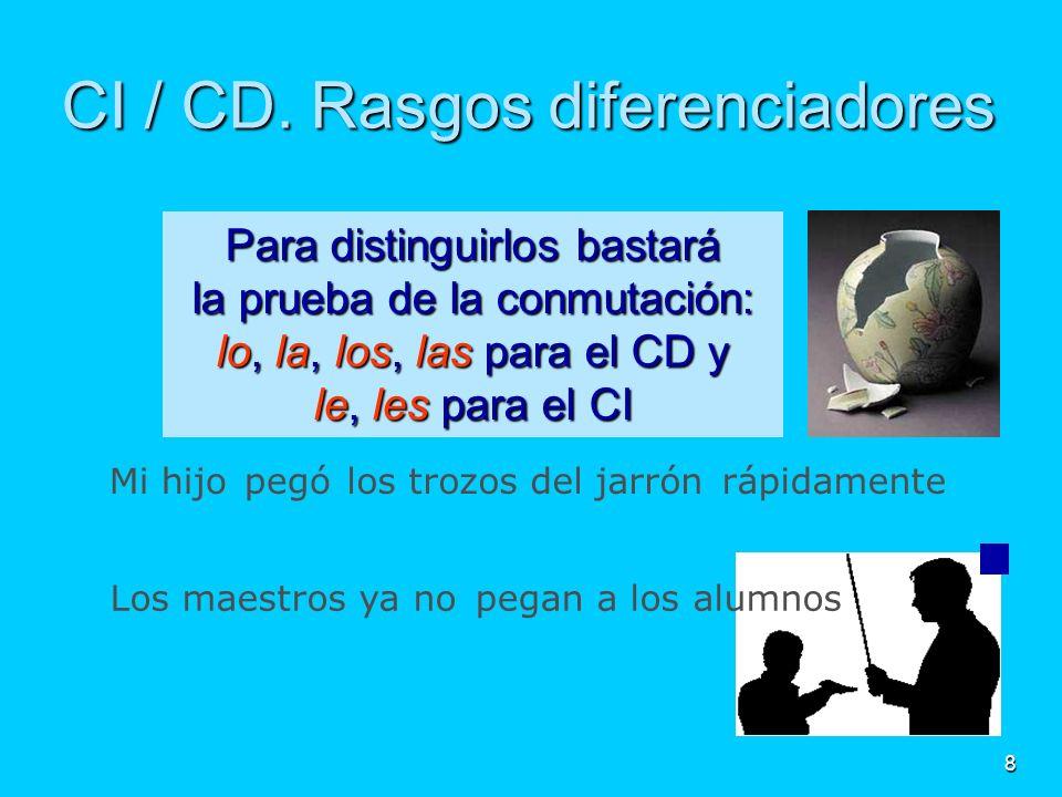 8 les CI / CD. Rasgos diferenciadores Para distinguirlos bastará la prueba de la conmutación: lo, la, los, las para el CD y le, les para el CI Los mae