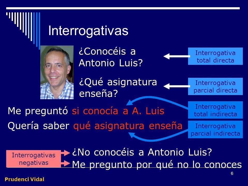 Prudenci Vidal 5 Interrogativas Trasmiten una pregunta Entonación interrogativa Orden de palabras peculiar Pueden ser directas e indirectas Totales y
